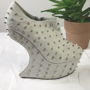 Studded Suede Ankle Booties Extreme Platform